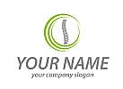 Öko-Medizin, Wirbelsäule und Kreise, Orthopädie, Logo