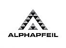 Zeichen, zweifarbig, Speer, Spitze, Haifischzähne, A, Logo