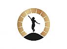 Zeichen, zweifarbig, Zeichnung, Silhouette, Frau, Mädchen, Sonne, Logo