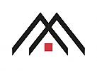 Zeichen, zweifarbig, Dach, M, Logo