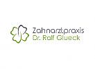 Ökomedizin, Zahnarzt, Zahnarztpraxis, Zeichen, Zeichnung, Zahn, Kleeblatt, Logo