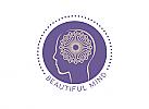 Zeichen, zweifarbig, Zeichnung, Kopf, Gehirn, Beautiful Mind, Logo
