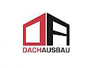 Zeichen, zweifarbig, Zeichnung, Haus, Dachdecker, Handwerk, Bau, Logo