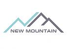 Zeichen, zweifarbig, Zeichnung, Berge, Dächer, N, M, Logo