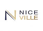 Zeichen, zweifarbig, Zeichnung, Signet, N, V, Logo