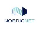Zeichen, zweifarbig, Netzwerk, Gitter, N, Logo