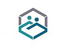 Zeichen, zweifarbig,  Zeichnung, Menschen, Hexagon, Logo