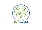 Ökologie, Öko, Zeichen, zweifarbig, Zeichen, Baum, Logo