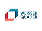 Zeichen, zweifarbig, Pfeilspitzen, weißes Quadrat, Logo