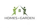 Ökologie, Zeichen, zweifarbig, Zeichnung, zwei Menschen, Haus, Logo