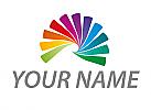 Spirale in Regenbogenfarben, Maler, Logo