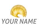 Zeichen, Zeichnung, Symbol, Spirale in Gold, Kreis, Sonne, Logo