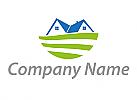 Ökologisch, Zwei Häuser und Wiese, Zwei Dächer, Logo