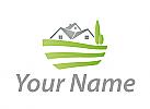 Ökologisch, Zweifarbig, Drei Häuser und Wiese, Dächer, Immobilien, Logo