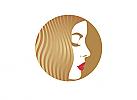 ö, Zeichen, zweifarbig, Zeichnung, Kopf, Frau, Mode, Friseur, Gold, Logo