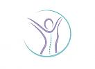 Zeichen, zweifarbig, Zeichnung, Mensch, Frau, Wirbelsäule, Physiotherapie, Osteophatie, Logo