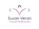 Zeichen, zweifarbig, Zeichnung, Frauenheilkunde, Frauenarzt, V, Logo