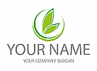 Zwei Blätter, Pflanzen, Kreise, Logo
