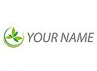 Zwei Kreise und Blätter, Pflanzen, Logo