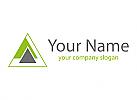 Dreiecke in grün und grau, Logo