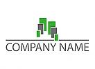 Viele Rechtecke und Linie Logo