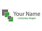 Rechtecke in grün und grau Logo