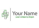 Zweifarbig, Viele Rechtecke und Linie Logo