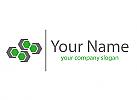 Viele Sechsecke und Linie Logo