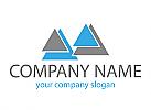 Vier Dreiecke in blau und grau, Logo