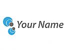 Viele Kreise, Kugel in blau und grau, Logo