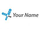 Viele Kugel in blau und grau, Kreise, Logo
