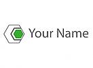 Sechsecke grau und grün Logo