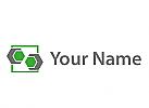 Sechsecke in grau und grün und Rechteck Logo