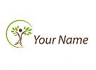 Zweifarbig, Person als Baum, Pflanze und Kreis Logo