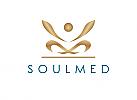 e Zeichen, zweifarbig, Signet, Yoga, Meditation, Krone, Gold, Mensch, Logo