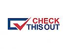 Zeichen, zweifarbig, Checkmark, Haken, Box, Wortmarke, Logo