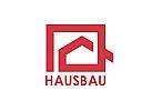 Zeichen, Zeichnung, Signet, Immobilie, Haus, Bau, Handwerk, Quadrat, Logo