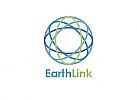 Zeichen, zweifarbig, Zeichnung, Signet, Symbol, Erde, Kugel, Band, Verbindung, Netzwerk, Logo