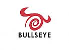 Zeichen, Zeichnung, Stier, Spirale, Hörner, Bullseye, Logo