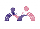 Zeichen, zweifarbig, zwei Menschen, Brücke, Logo