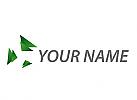 Viele Dreiecken in grün, Dreiecke Logo