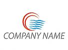 Zweifarbig, Sonne und Wellen, Reisen, Tourismus Logo