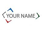 Vier Teile, Rechteck, Puzzle, Logo