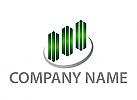Ökologisch, Hochhäuser, Skyline, Stadt, Logo