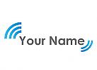 Zweifarbig, Halbkreise, Wellen in blau Logo
