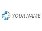 Viele Wellen, Kreise in blau und grau, Logo