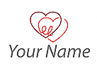 Zwei Herze verbunden Logo