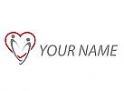 Zwei Personen und Herz Logo