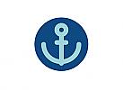Zeichen, zweifarbig, Signet, Symbol, Anker, Logo