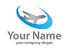 Zweifarbig, Flugzeug und Kreis, Logo